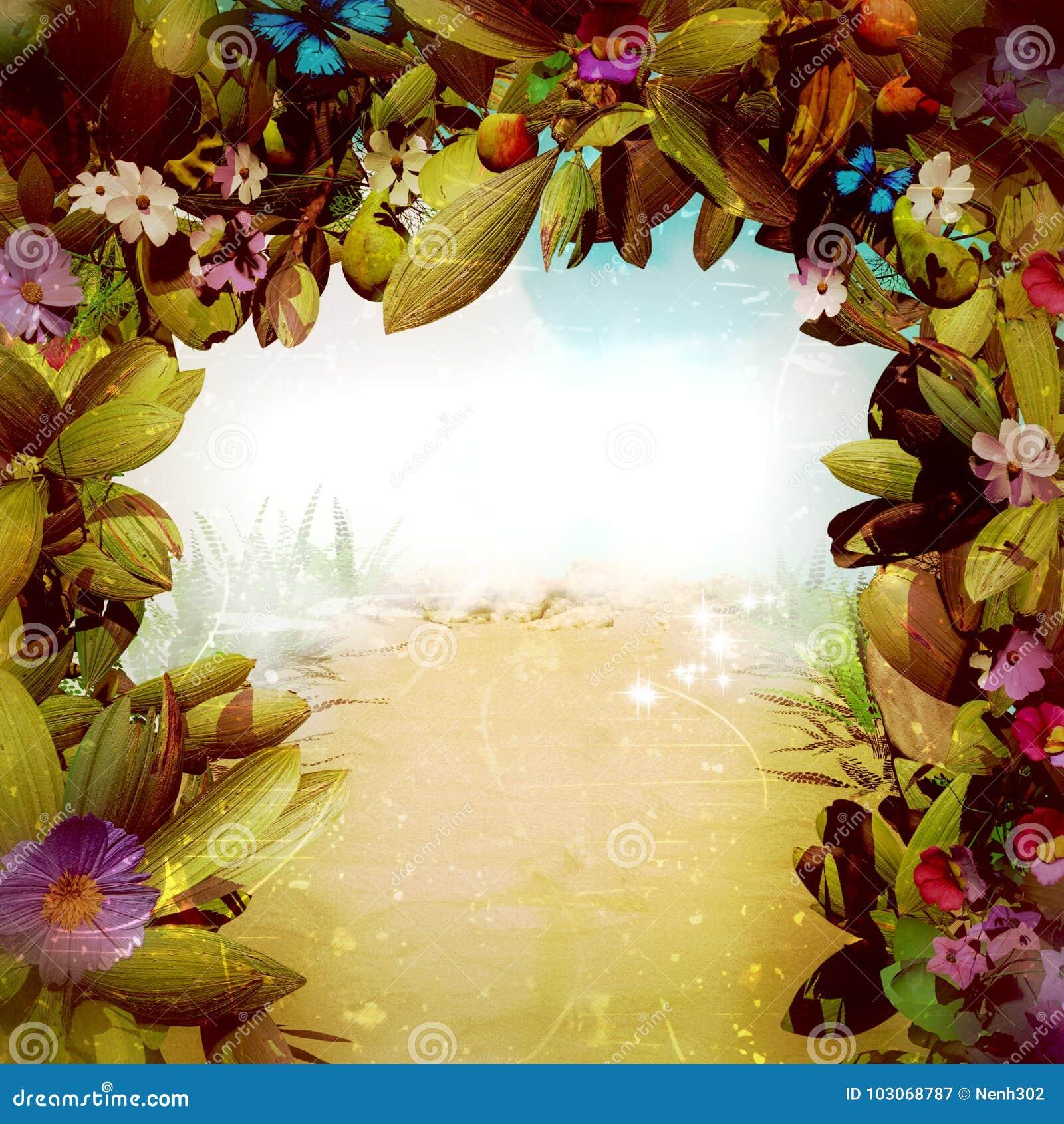 Portone magico del fiore di fantasia