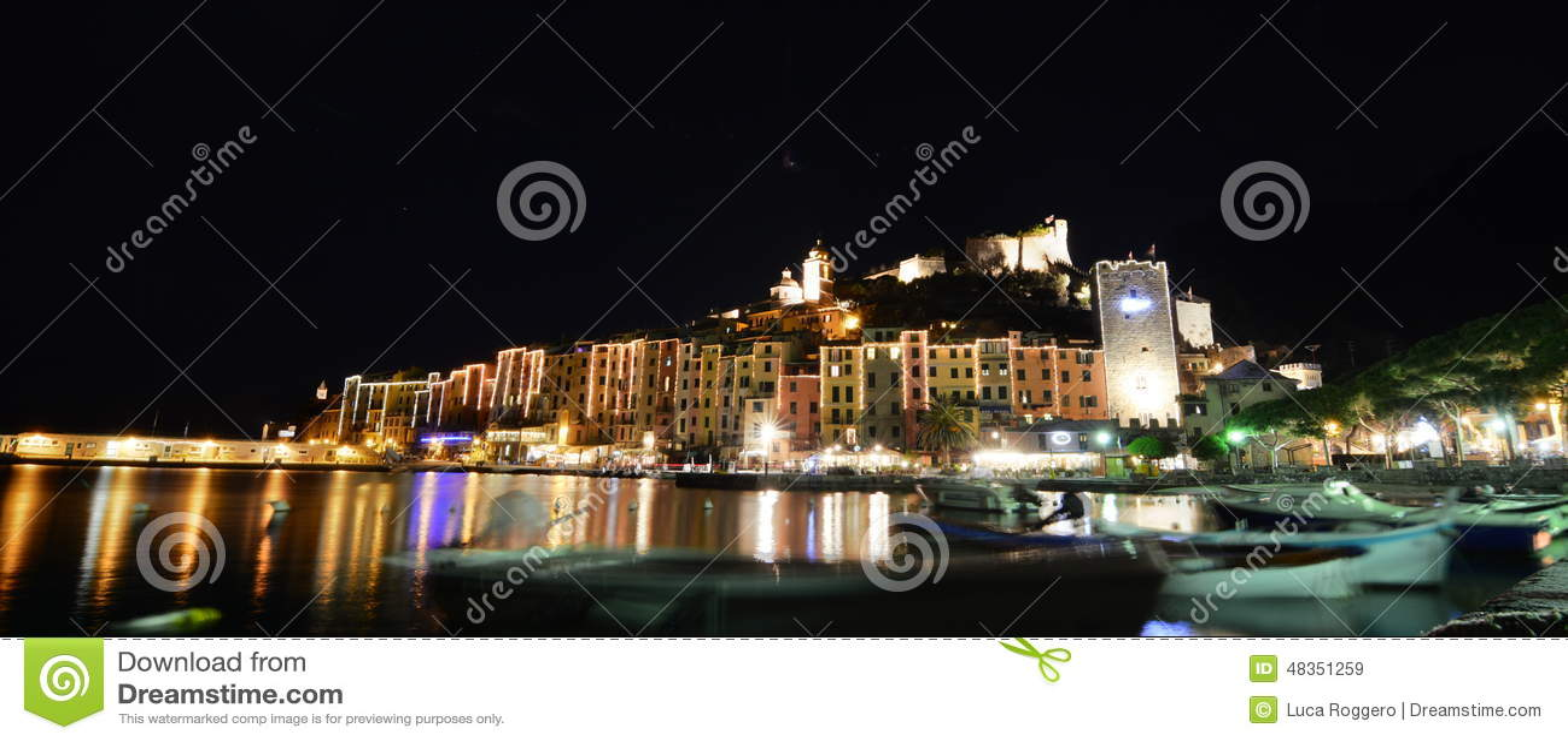 Portovenere By Night Liguria Italy Editorial Stock Image Image 48351259