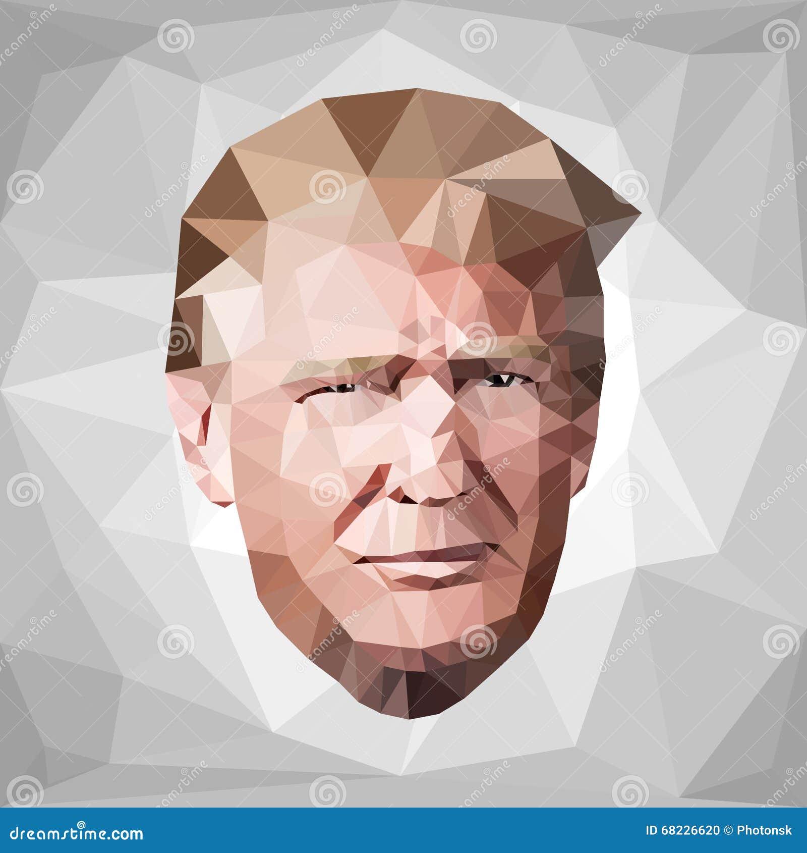 Porträt-Donald John Trump-Kandidat niedriges Polyu S Redaktionelles Bild