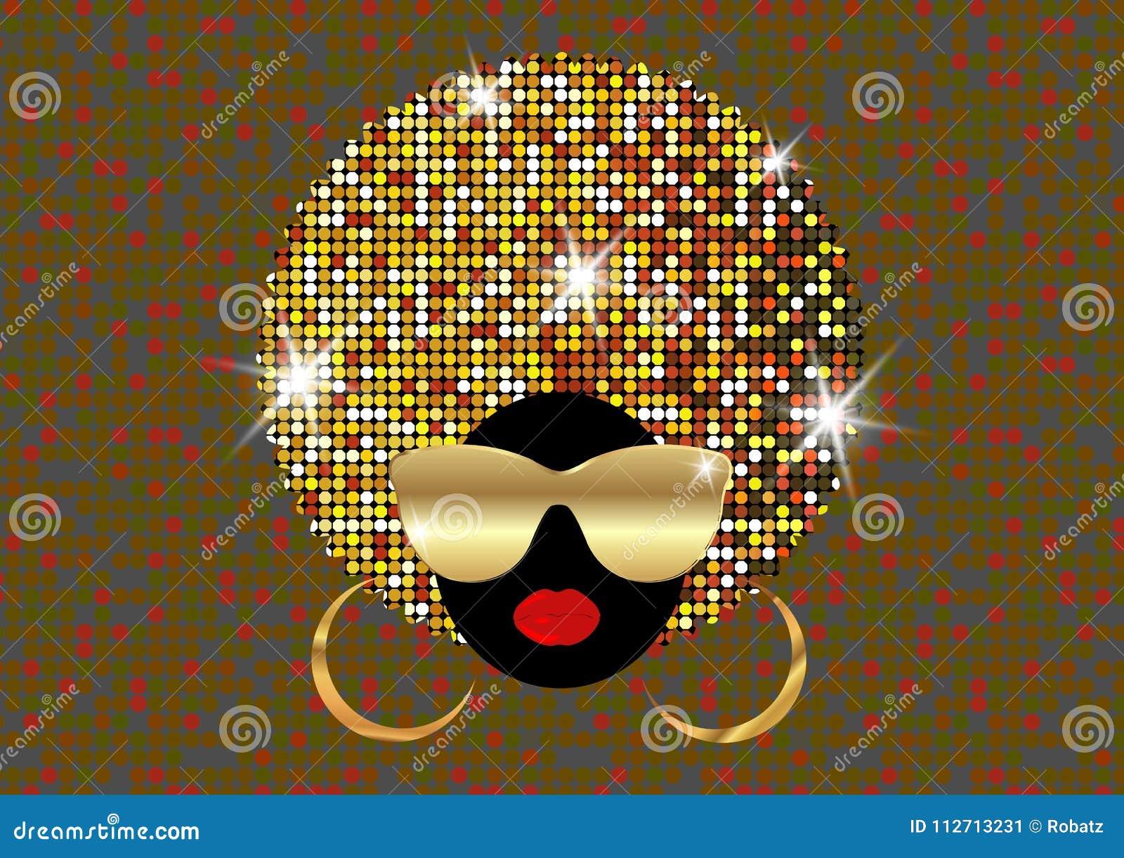 Porträt-Afrikanerinnen, weibliches Gesicht der dunklen Haut mit dem glänzenden Haar Afro und Goldmetallsonnenbrille im traditione
