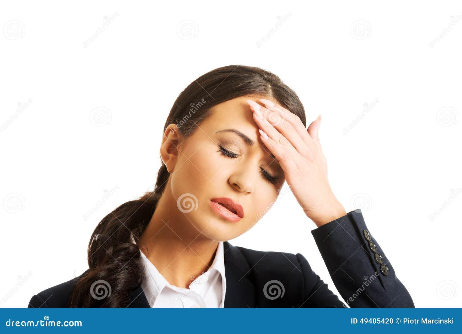 Download Porträt Der Geschäftsfrau, Die Enorme Kopfschmerzen Hat Stockfoto - Bild von dame, kopf: 49405420