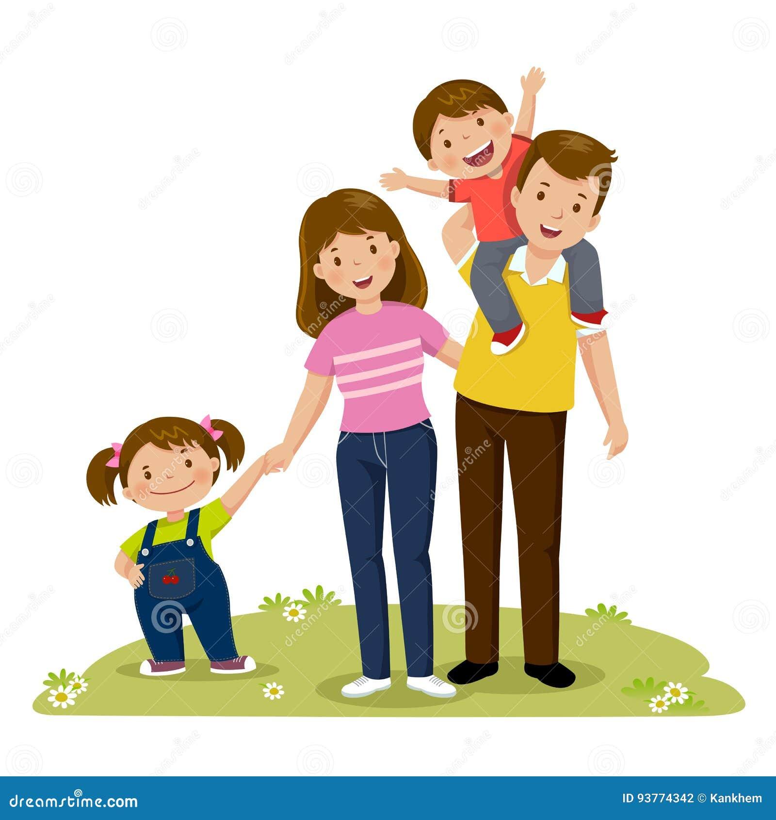 Porträt der vierköpfigen glücklichen Familie, die zusammen aufwirft Erzieht wi