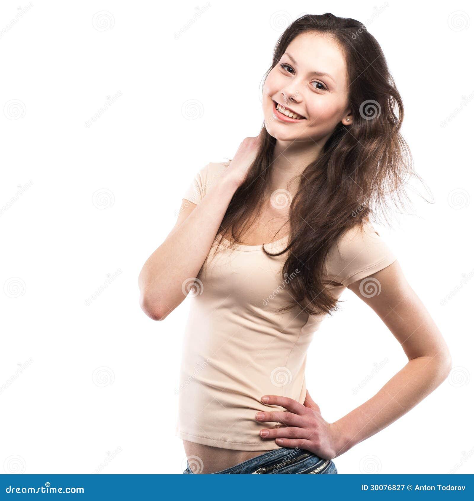 Porträt eines glücklichen Lächelns des jungen Mädchens