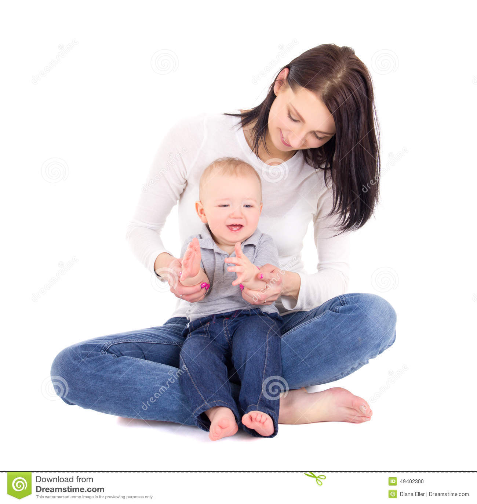 Download Porträt Glücklichen Frau Woth Ihr Wenig Sohnsitzen An Lokalisiert Stockfoto - Bild von getrennt, junge: 49402300