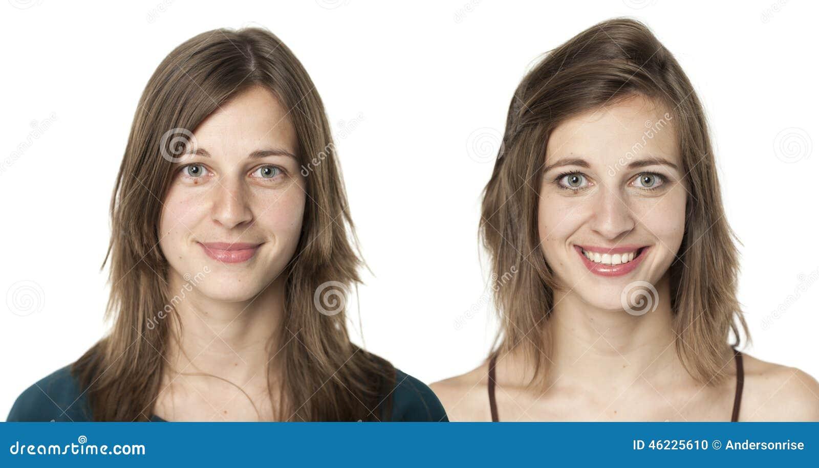 Porträts der gleichen jungen Frau