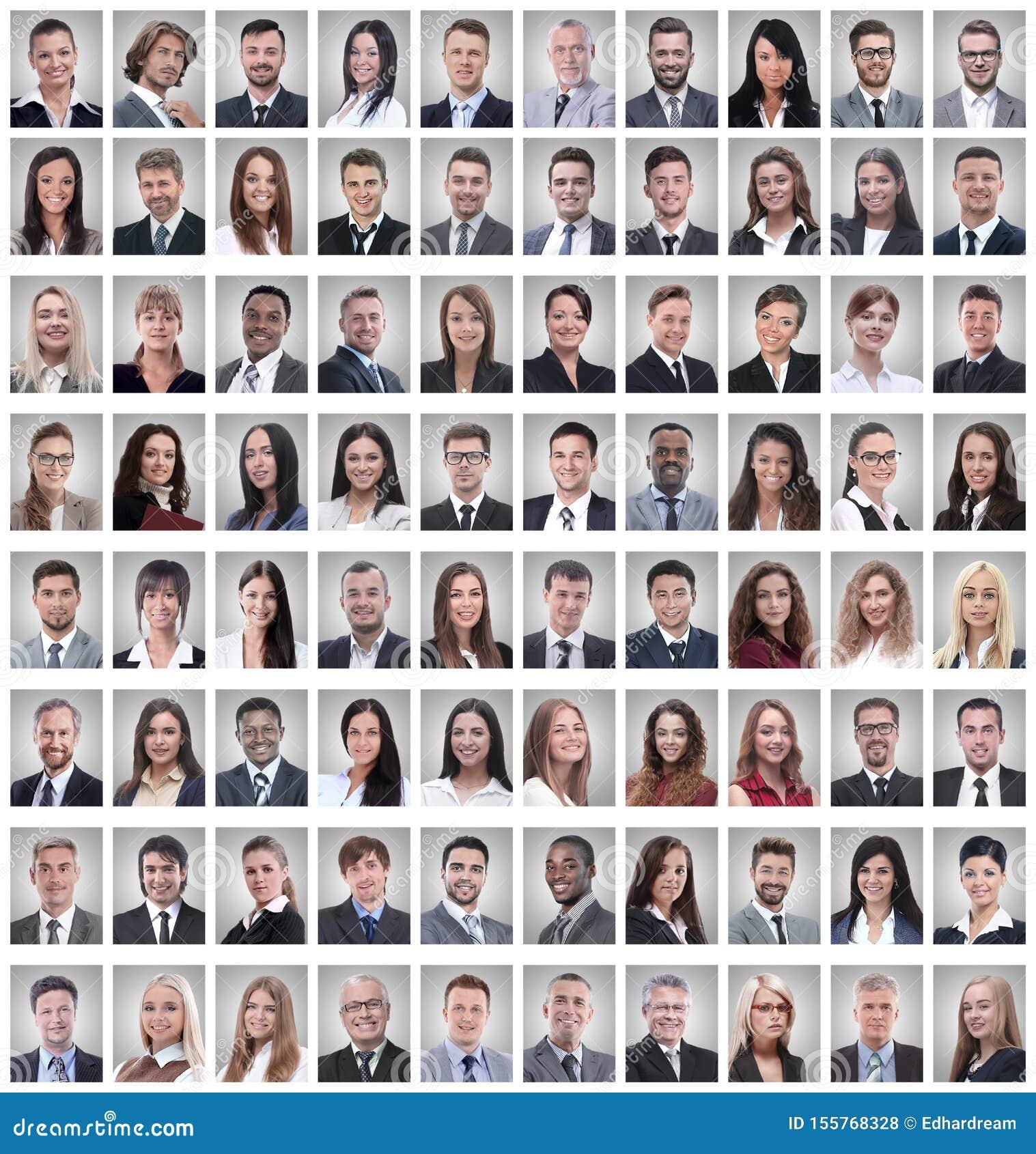 Portr?ts einer Gruppe erfolgreicher Angestellten lokalisiert auf Wei?