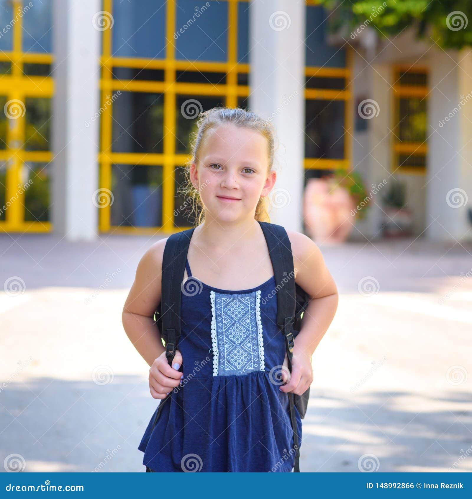 Portrair Happy Smiling Kid Back To School  Stock Photo