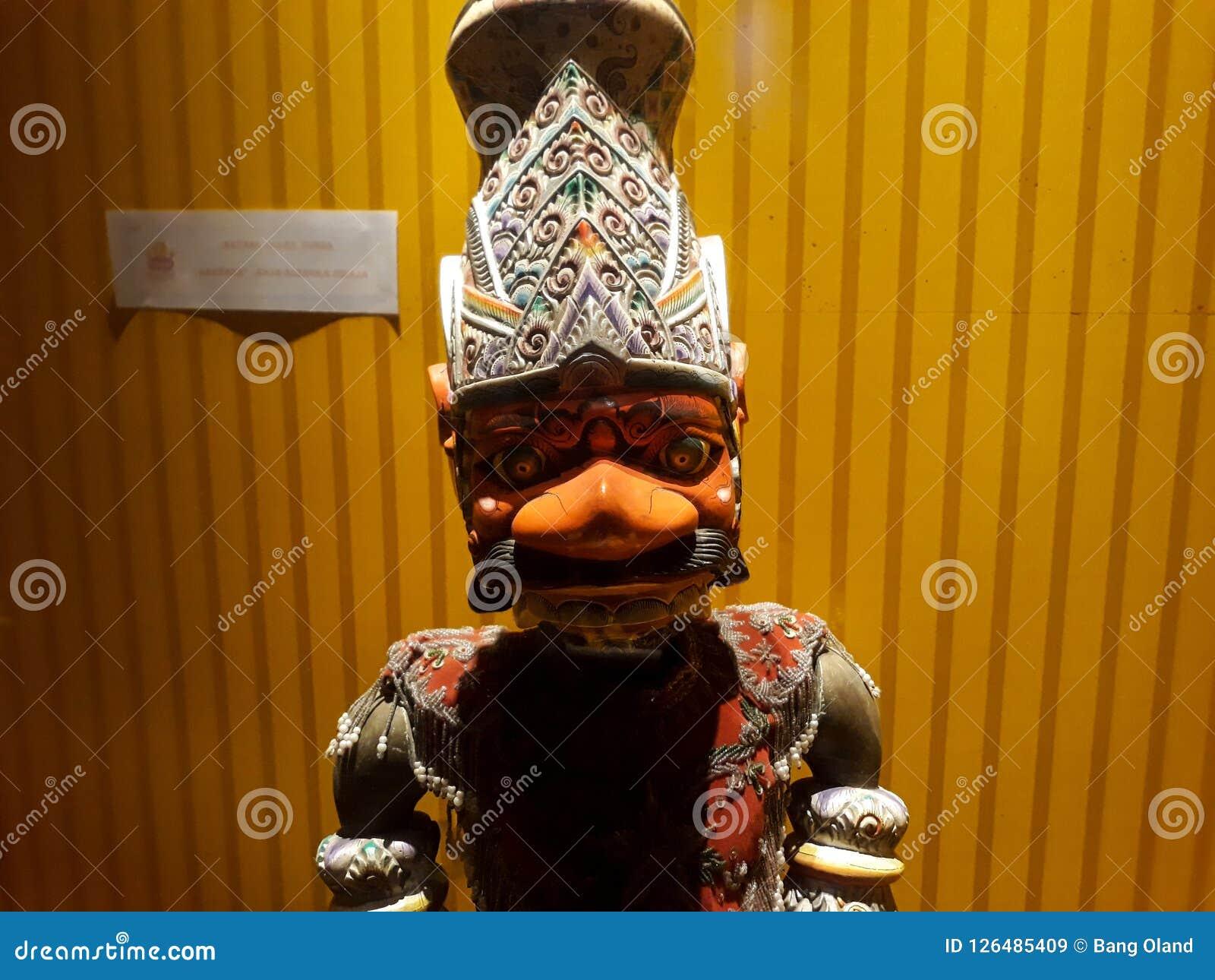 Portrait étroit sur la marionnette dans le vieux musée de marionnette de ville de Jakarta