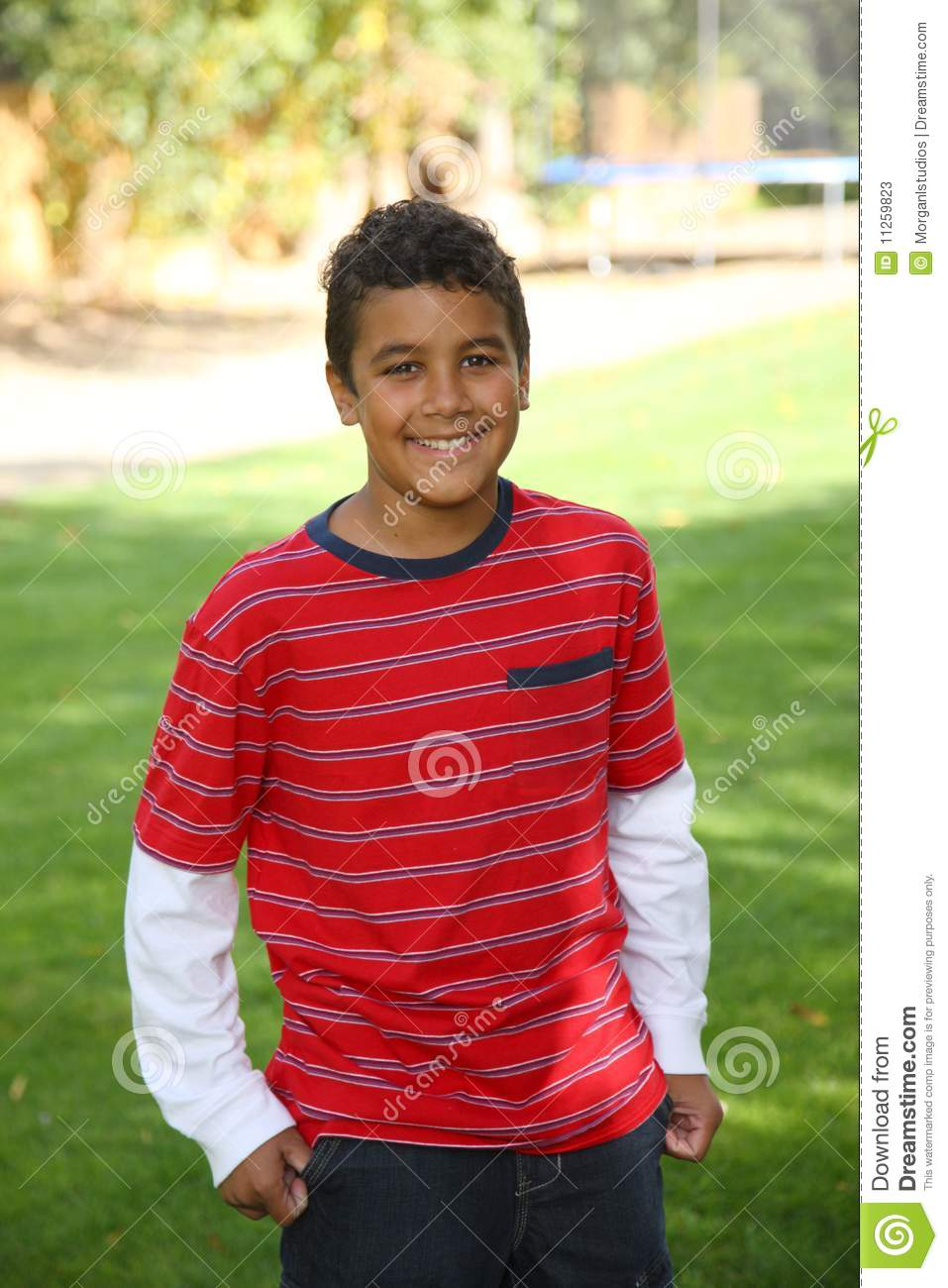 Portrait Of 11 Year Old Boy Outdoors Stock Image