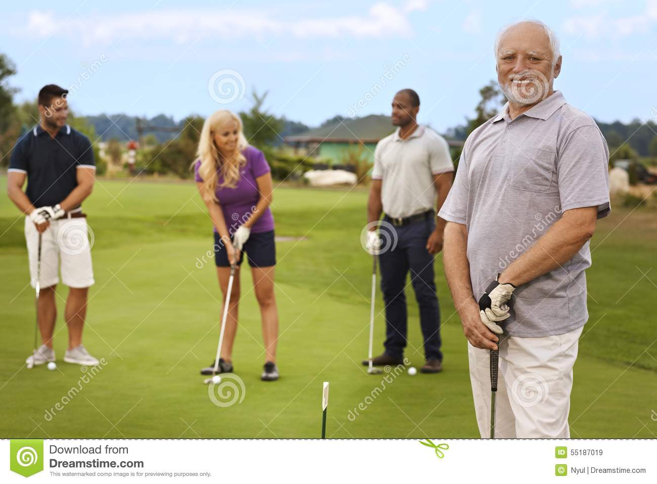 Portrait Of Active Senior On The Golf Course Stock Photo ... Golf Ball On Tee Clipart