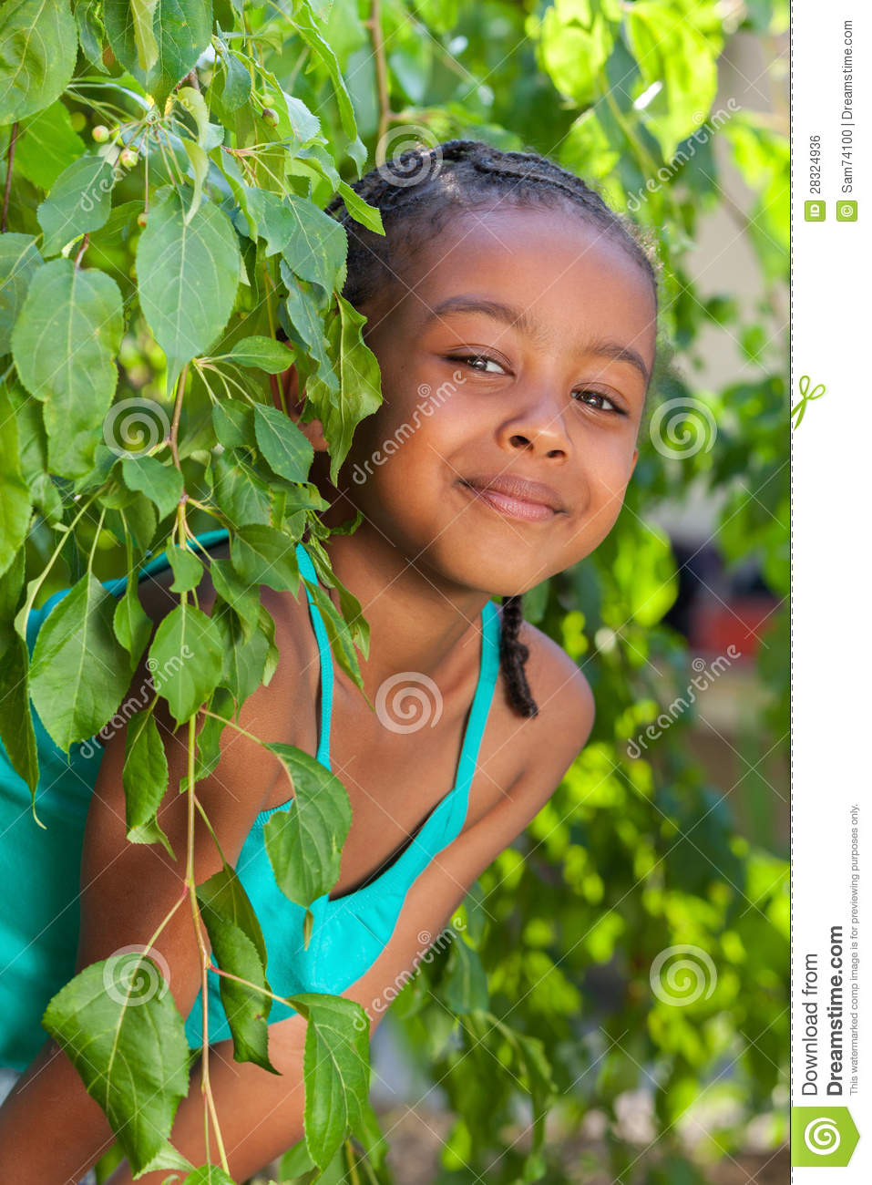 Portrait Of A Adorable Little African American Girl Stock