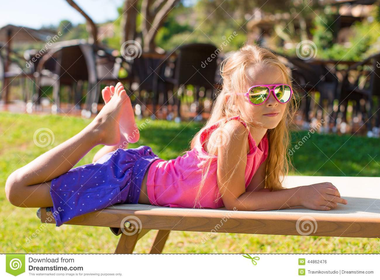 Portrait Of Adorable Little Girl Outdoors Stock Photo - Image: 44862476