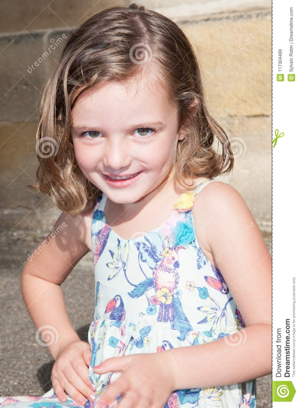cf7f8d8a3 Adorable Smiling Little Girl Child In Dress Outdoor In Summer Day ...