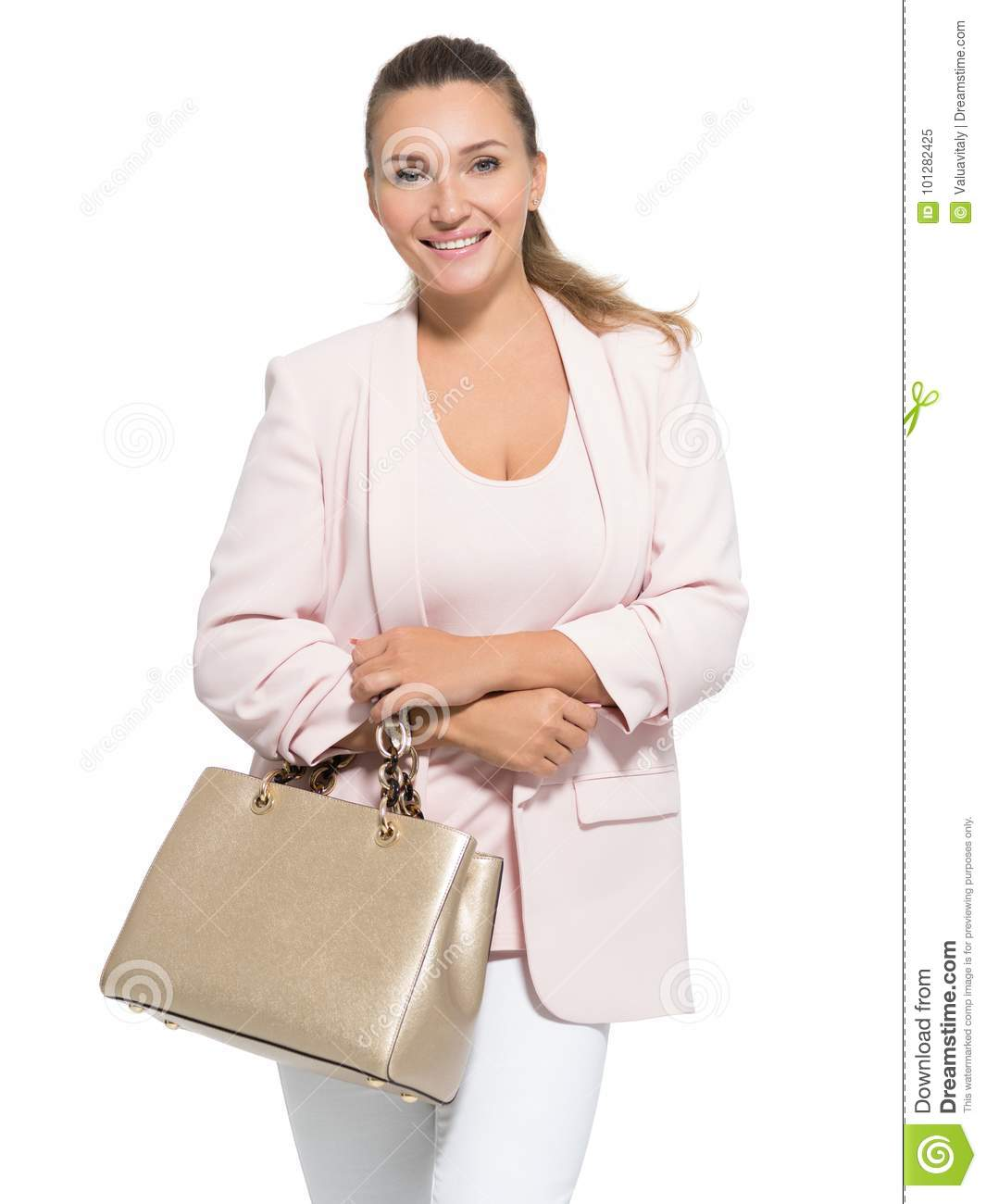 Portrait of an adult smiling woman with handbag