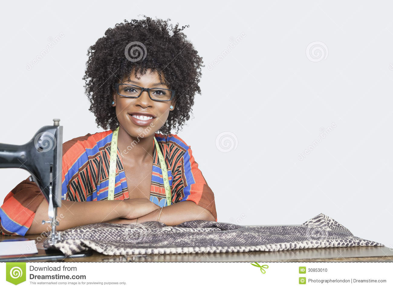 Stock photo portrait of an african american female fashion designer