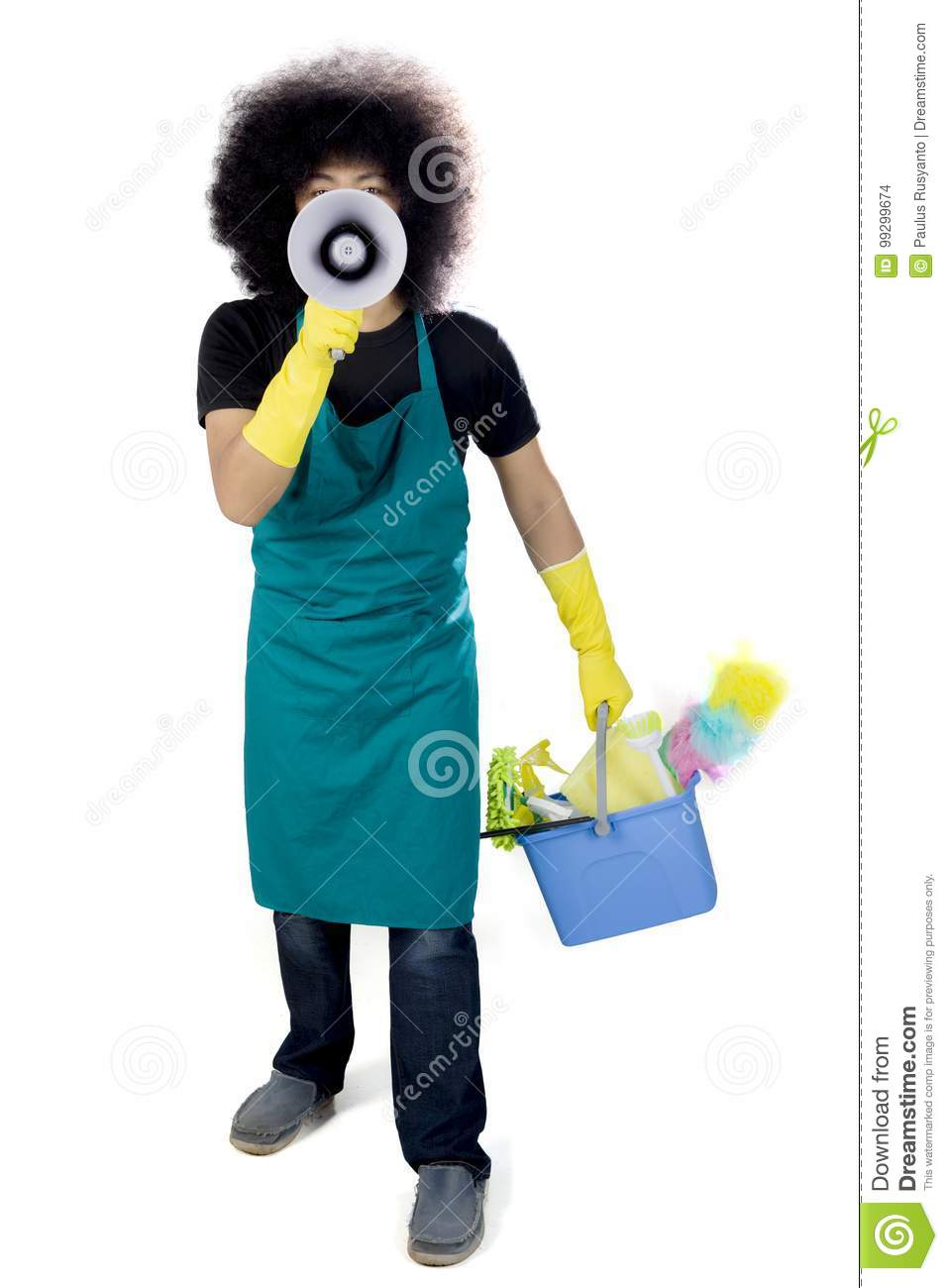 Download Afro Maid With Loudspeaker On Studio Stock Photo - Image of megaphone, adult: 99299674