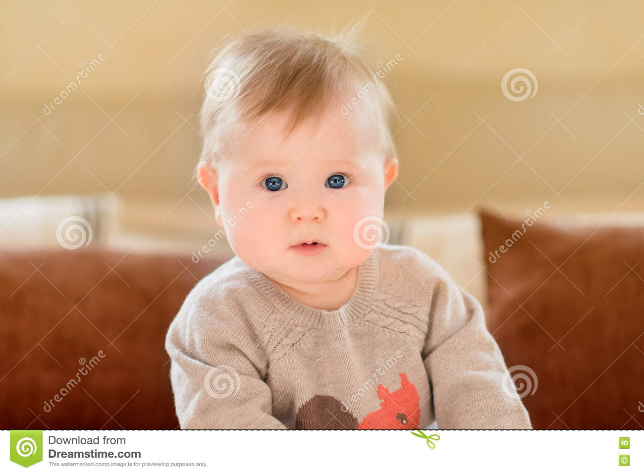 Portrait of amazed little child with blond hair and blue eyes wearing knitted sweater sitting on sofa and looking at camera