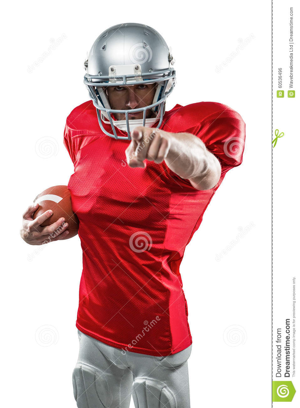 portrait american football player in red jersey pointing stock