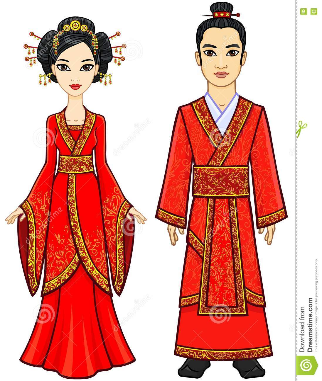 portrait of an animation chinese family in traditional clothes full