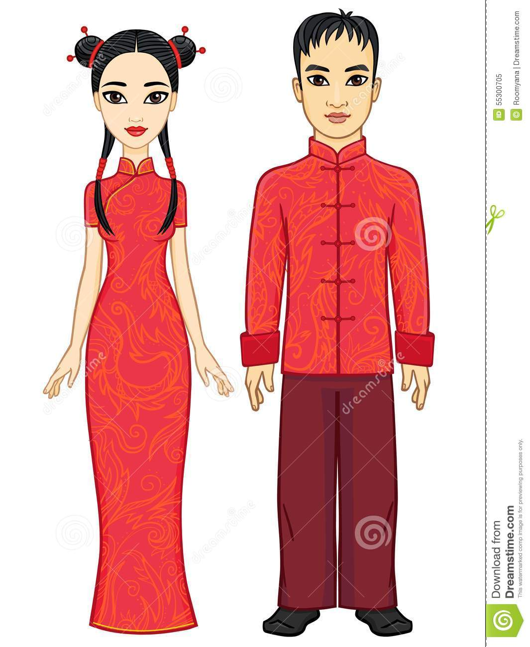 Portrait Of An Animation Chinese Family In Traditional