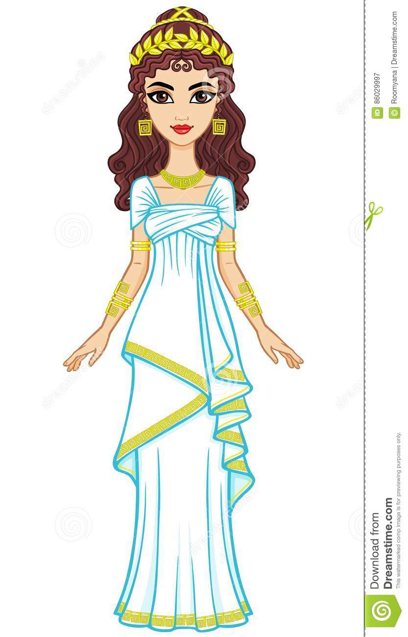 Portrait Of The Animation Woman In Ancient Greek Dress ...