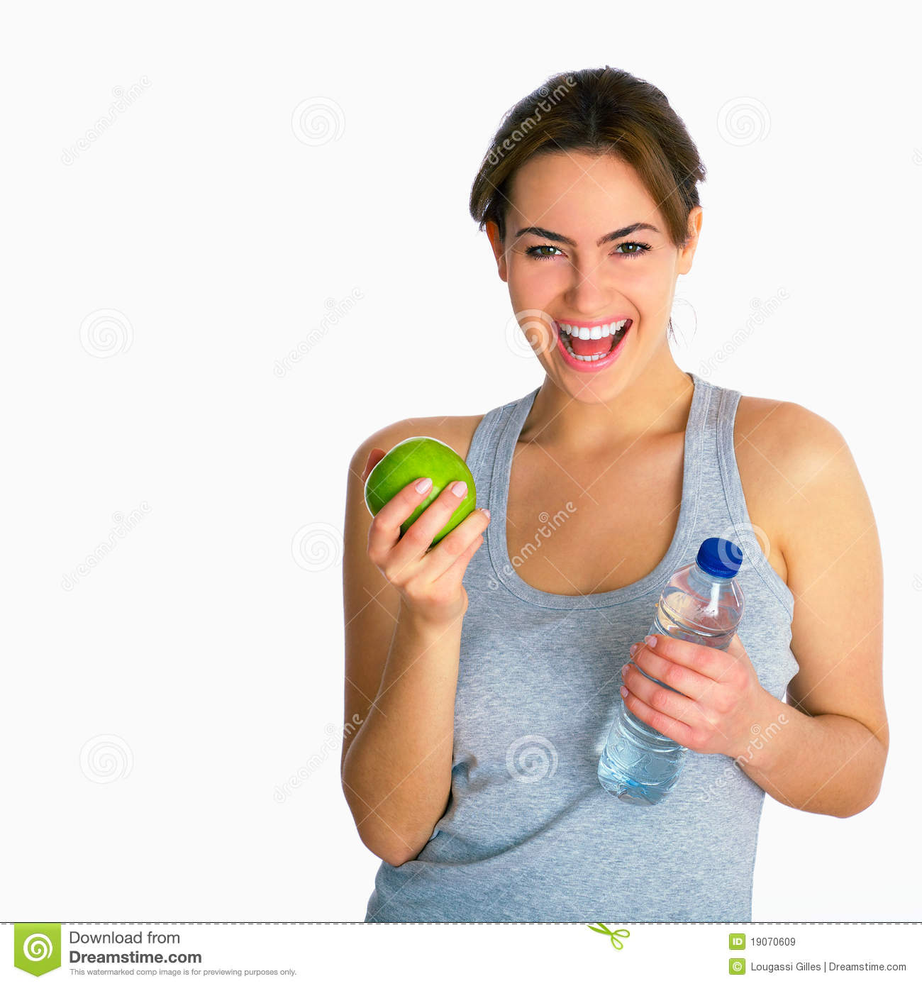 Portrait with apple and water