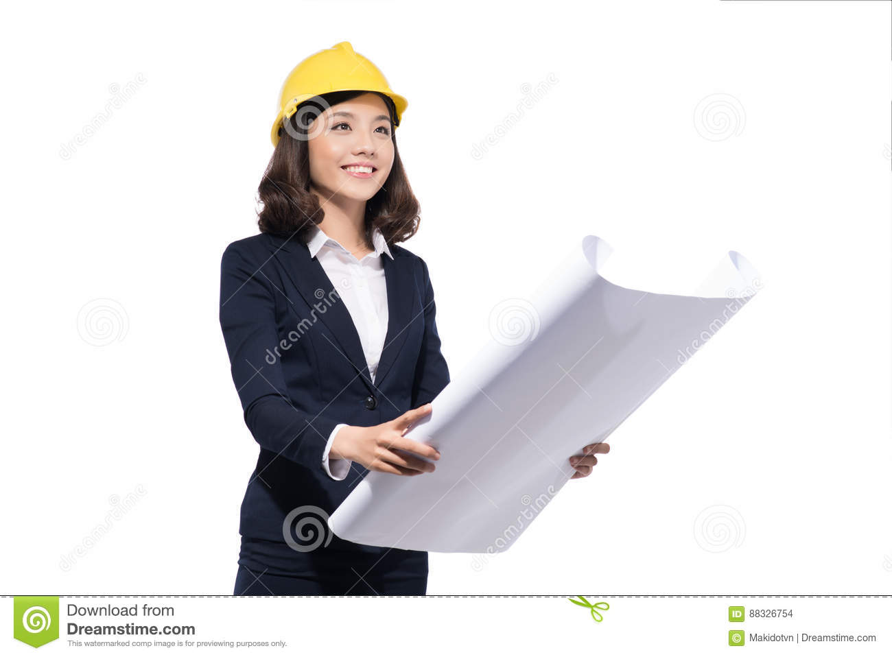 Architect Student portrait of architect student woman with blueprints protect wear