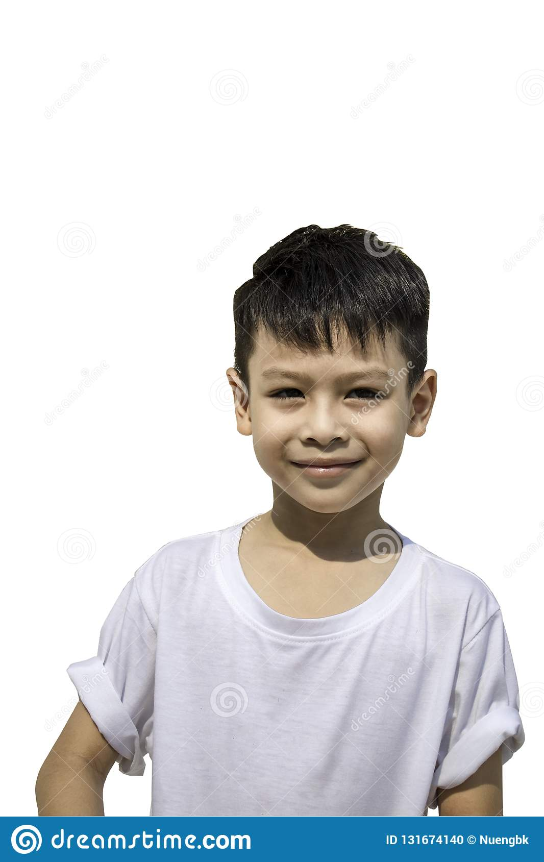 92c9c4e60 Portrait of Asian boy wearing a t-shirt on a white background , Thailand.