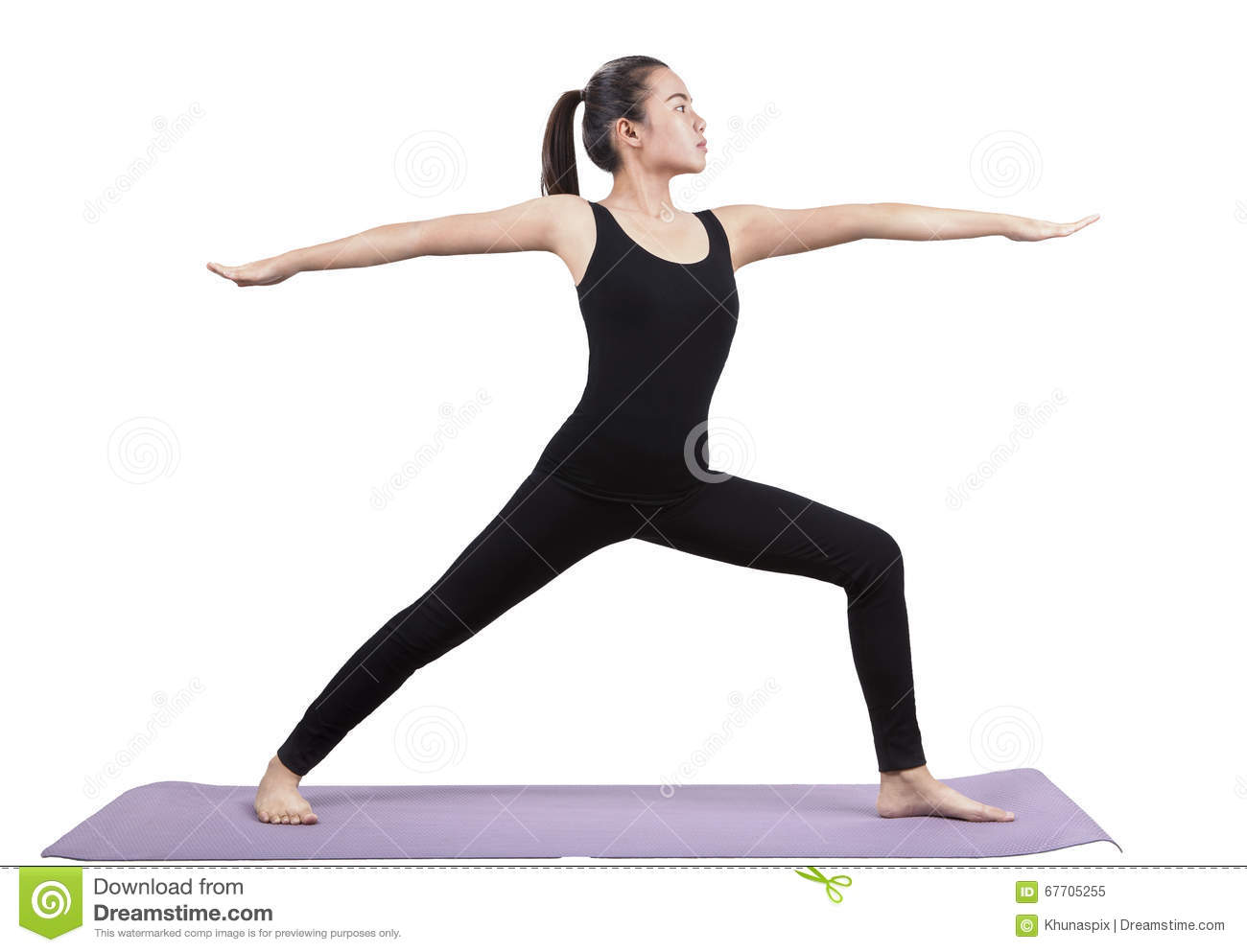 Download Portrait Of Asian Woman Wearing Black Body Suit Sitting In Yoga Stock Image - Image of meditating, body: 67705255
