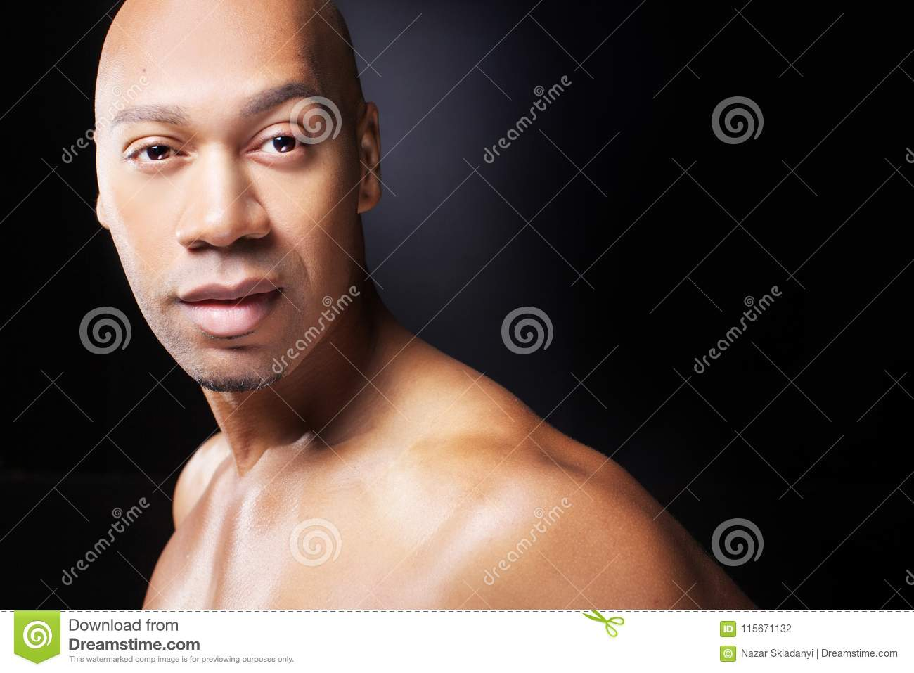 Naked black african american man