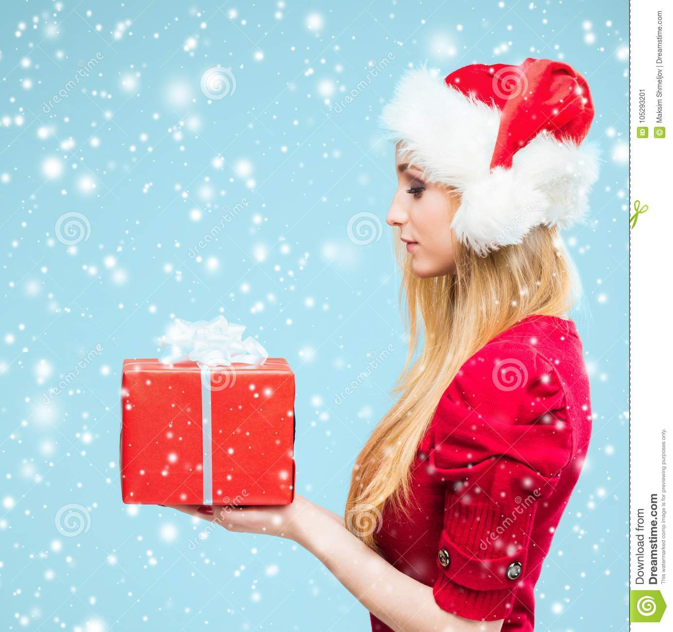 Christmas Background Images Portrait.Portrait Of Attractive Blond Woman Over Christmas Background