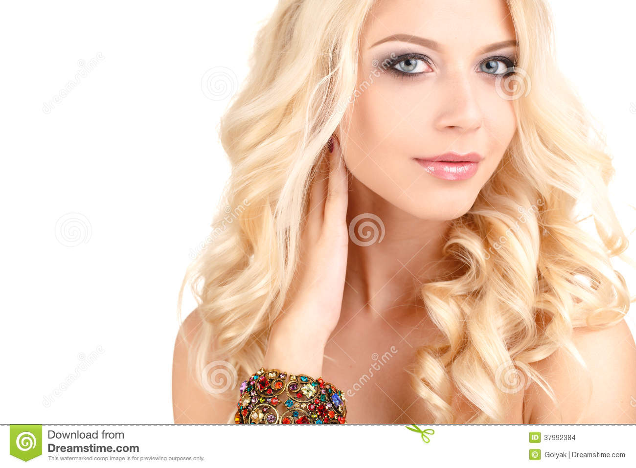 Portrait Of Attractive Caucasian Blonde Woman With Long Curly Hair