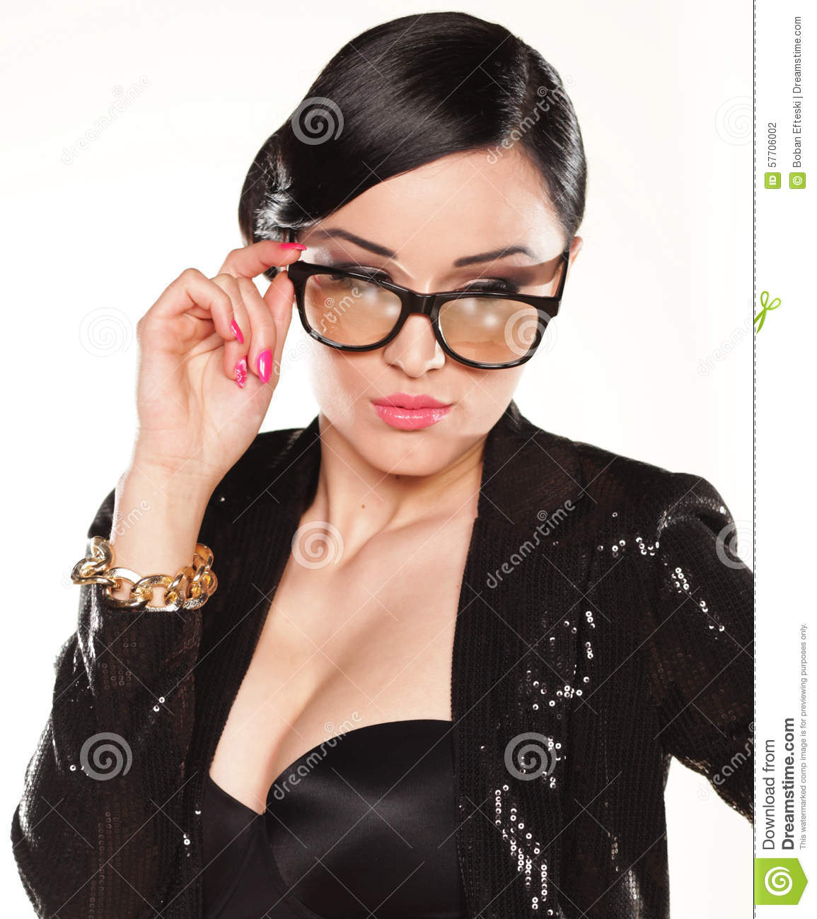 portrait of attractive model with eyeglasses stock