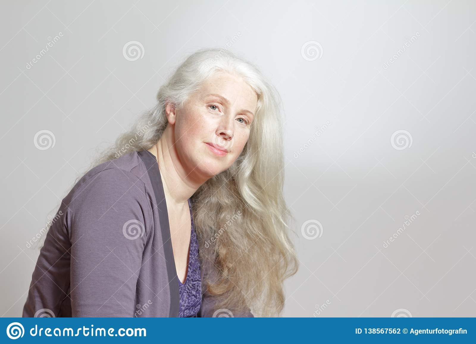 Portrait Mature Woman Long White Hair Stock Photo - Image of ...