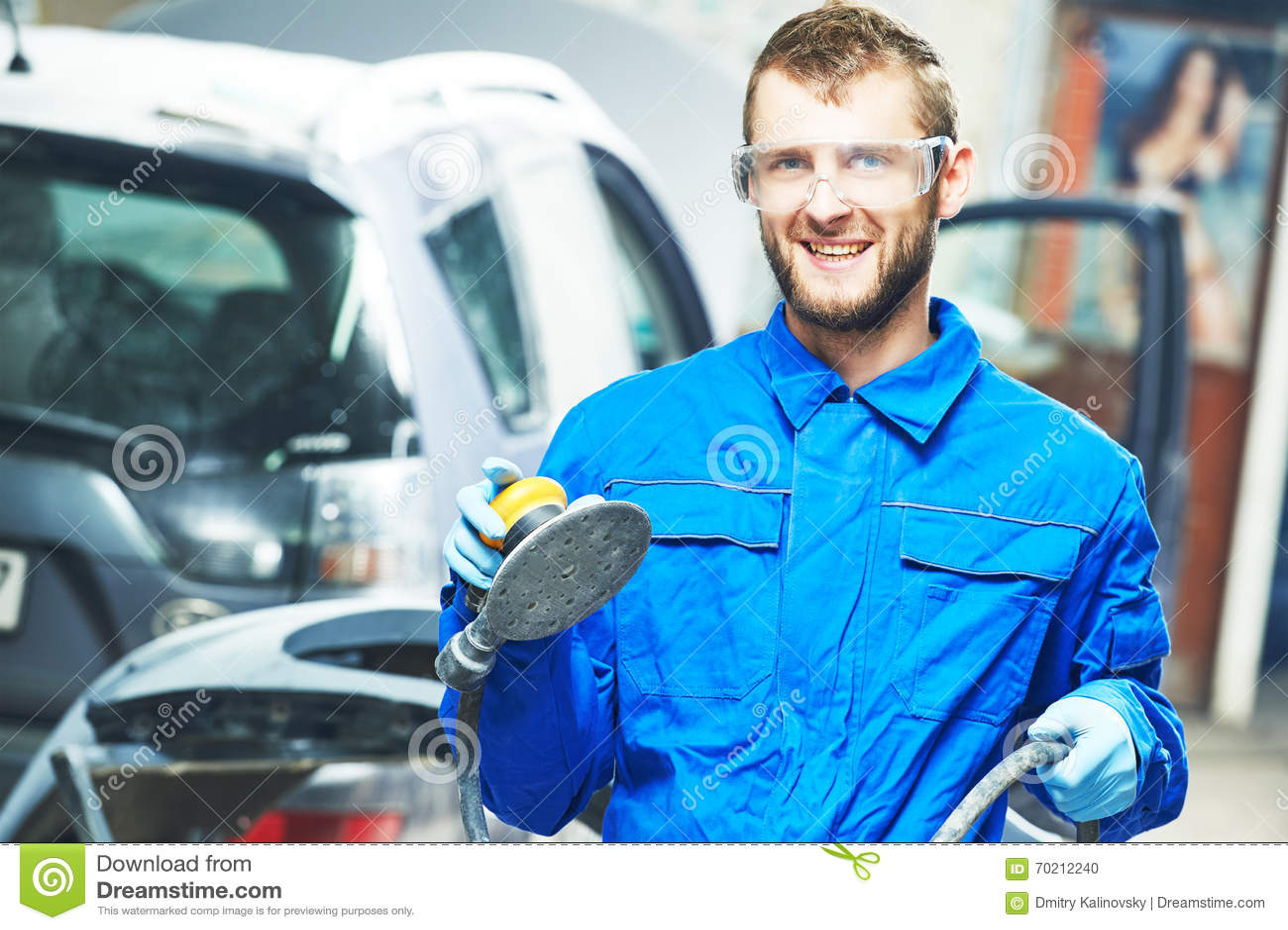 Portrait Of Auto Mechanic Worker With Power Polisher Machine – Machine Mechanic
