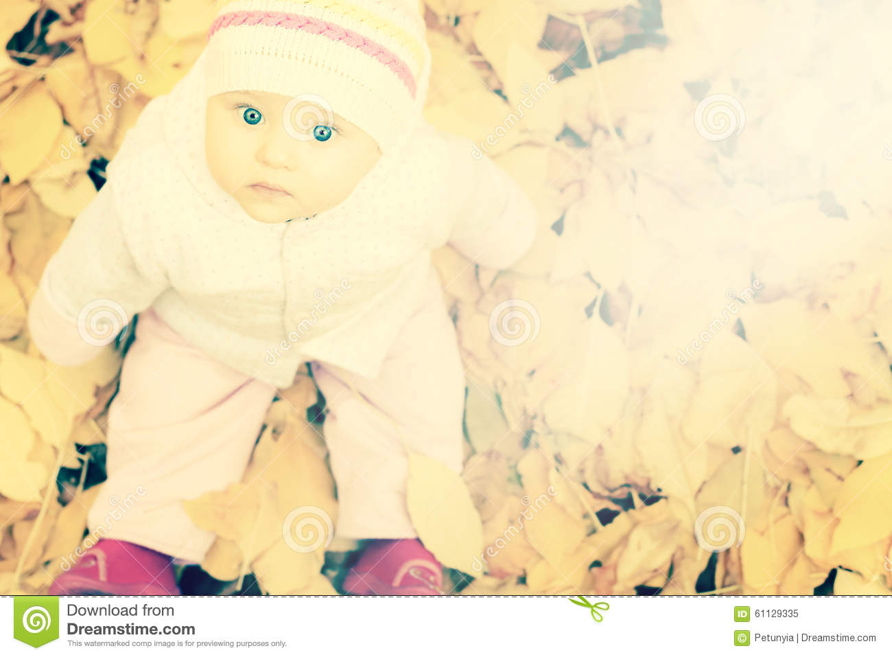 Portrait of baby at autumn park with yellow leaves background