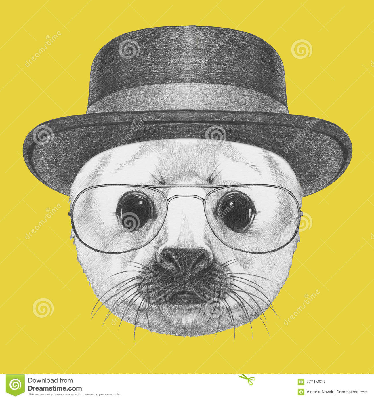 efdbe81f609 Portrait of Baby Fur Seal with hat and glasses. Royalty-Free Illustration