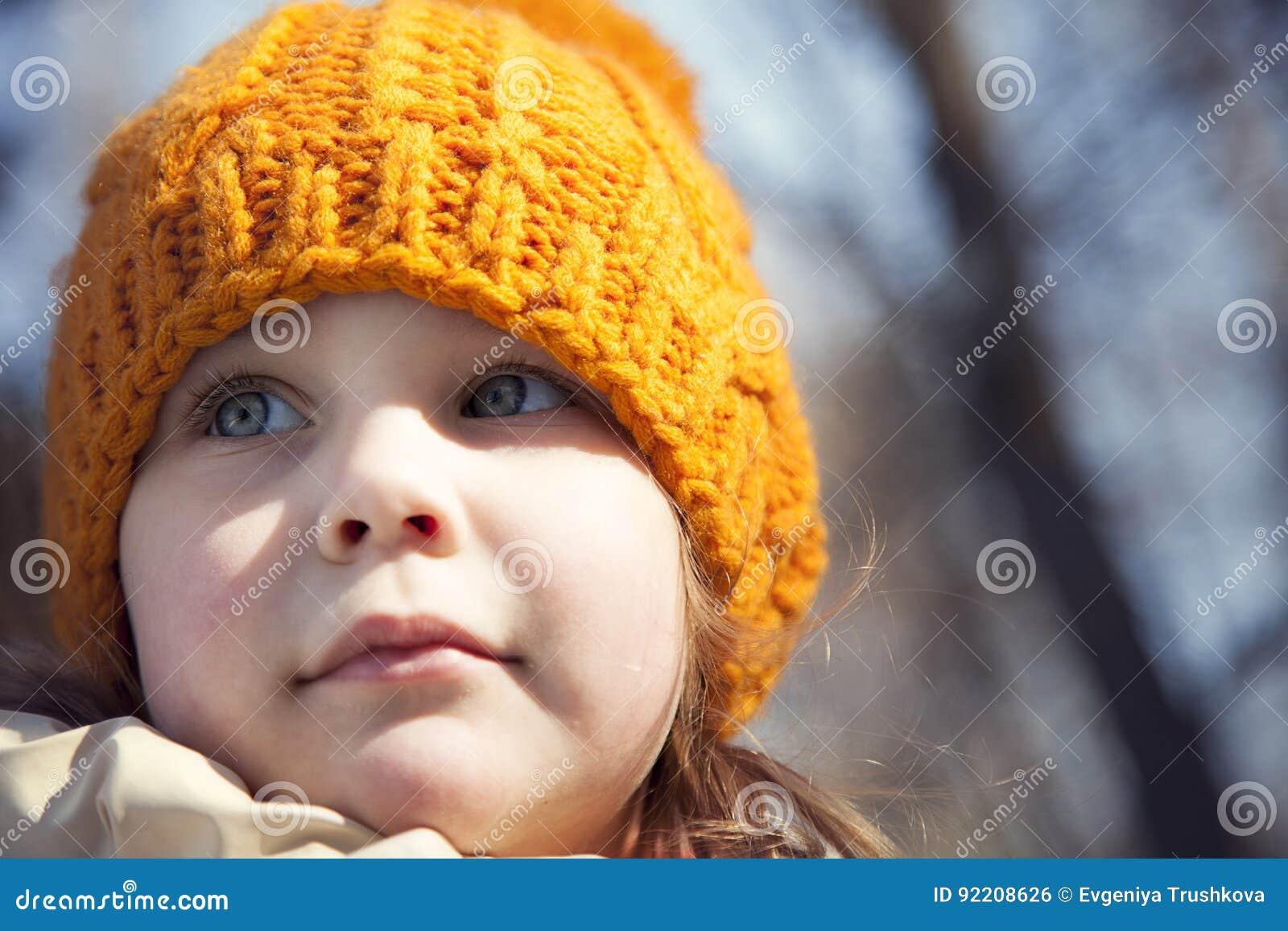 0f7b06f566b Portrait Of A Child Close-up In A Hat Stock Photo - Image of female ...