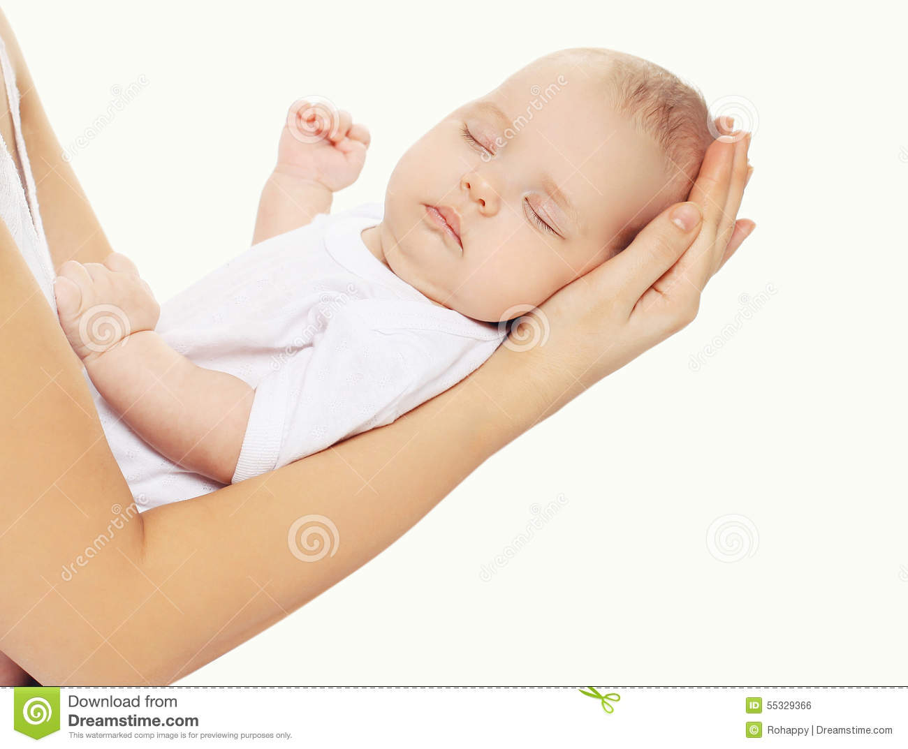 77251e8b336 Portrait Of Baby Sleeping On Hands Mother Stock Photo - Image of ...