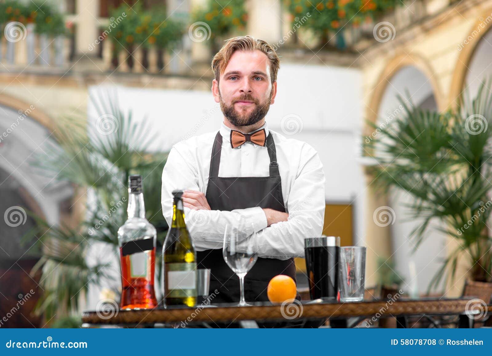 Portrait Of Barman At The Restaurant Stock Photo Image