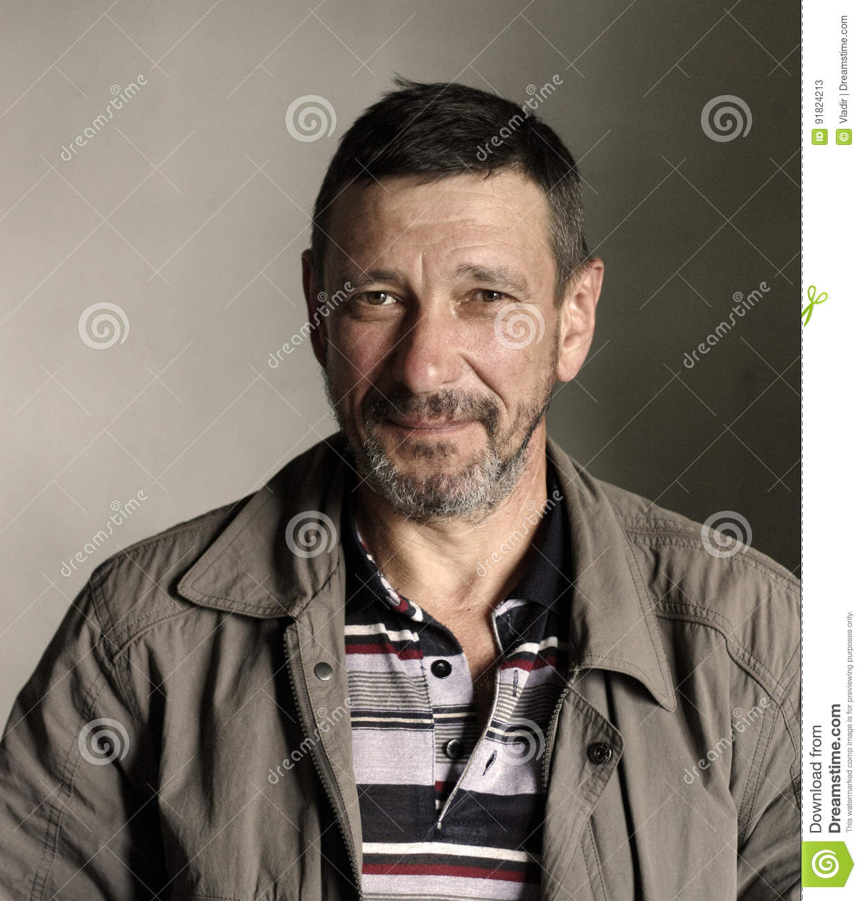 Portrait Of Bearded Man With Mocking Face Stock Image Image Of