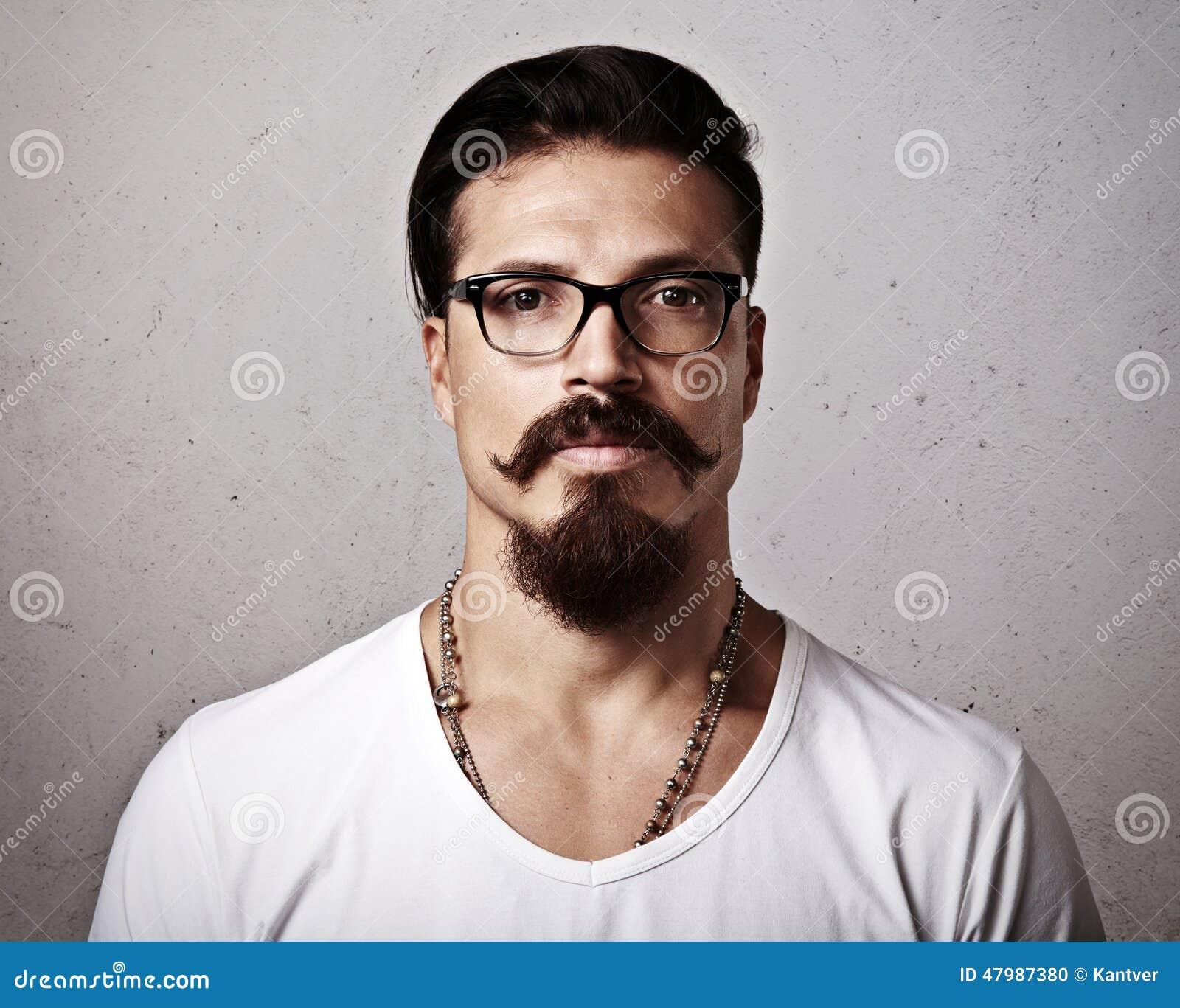 Portrait Of A Bearded Man Wearing Eyeglasses Stock Photo ...