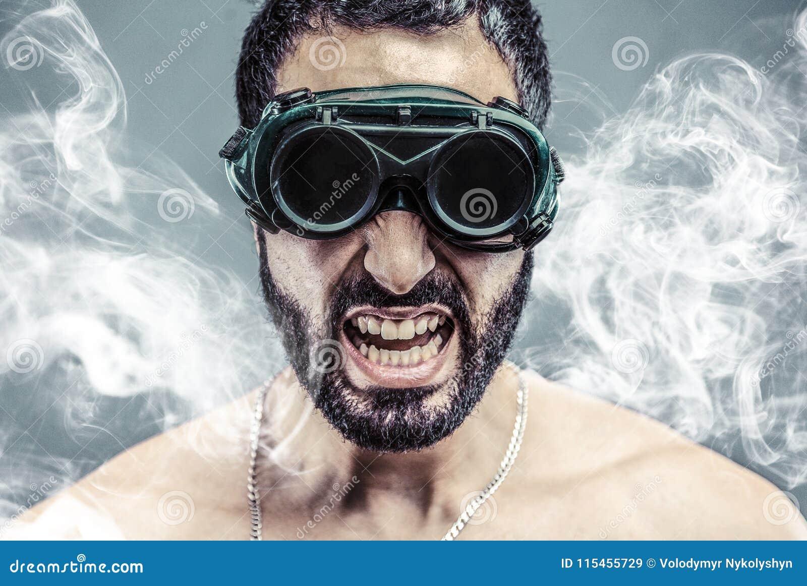 Bearded Man in Smoke