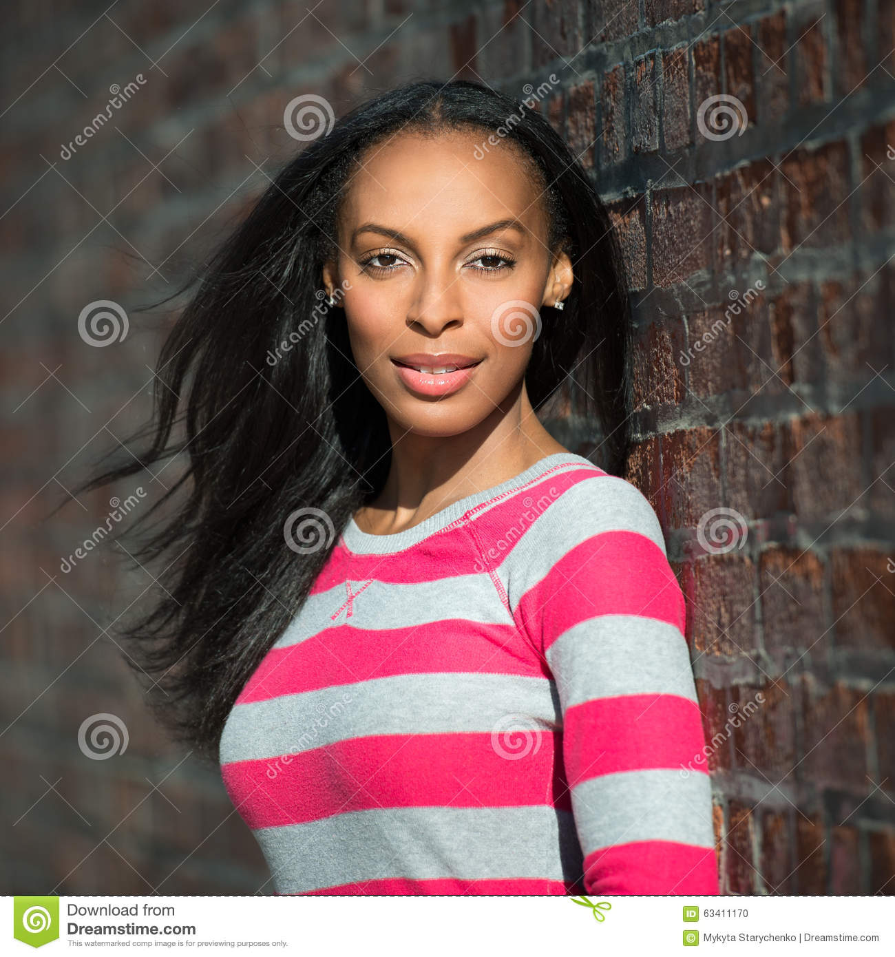 Download Portrait Of Beautiful African American Model Woman Stock Photo - Image of fashioned, mixed: 63411170