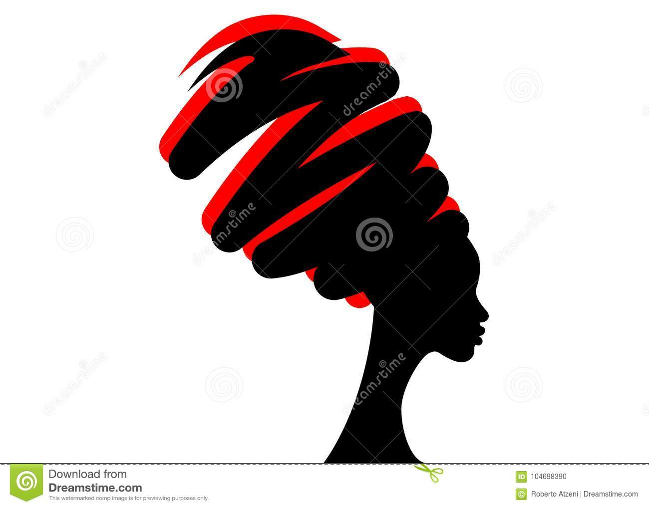 Portrait beautiful African woman in traditional turban, black women silhouette isolated , hairstyle concept