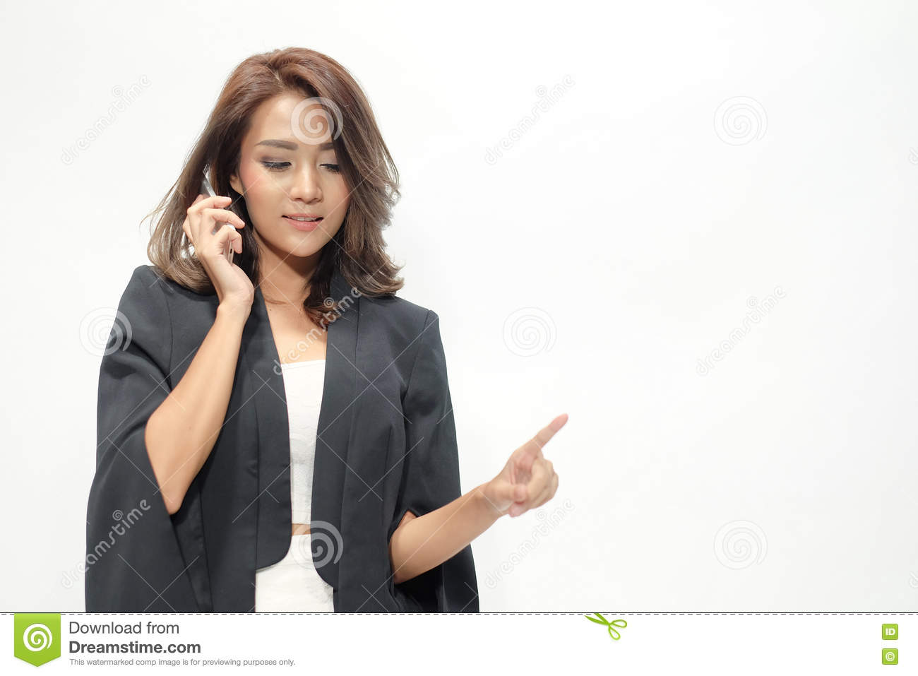 Portrait beautiful asian woman standing , Hold the phone ,