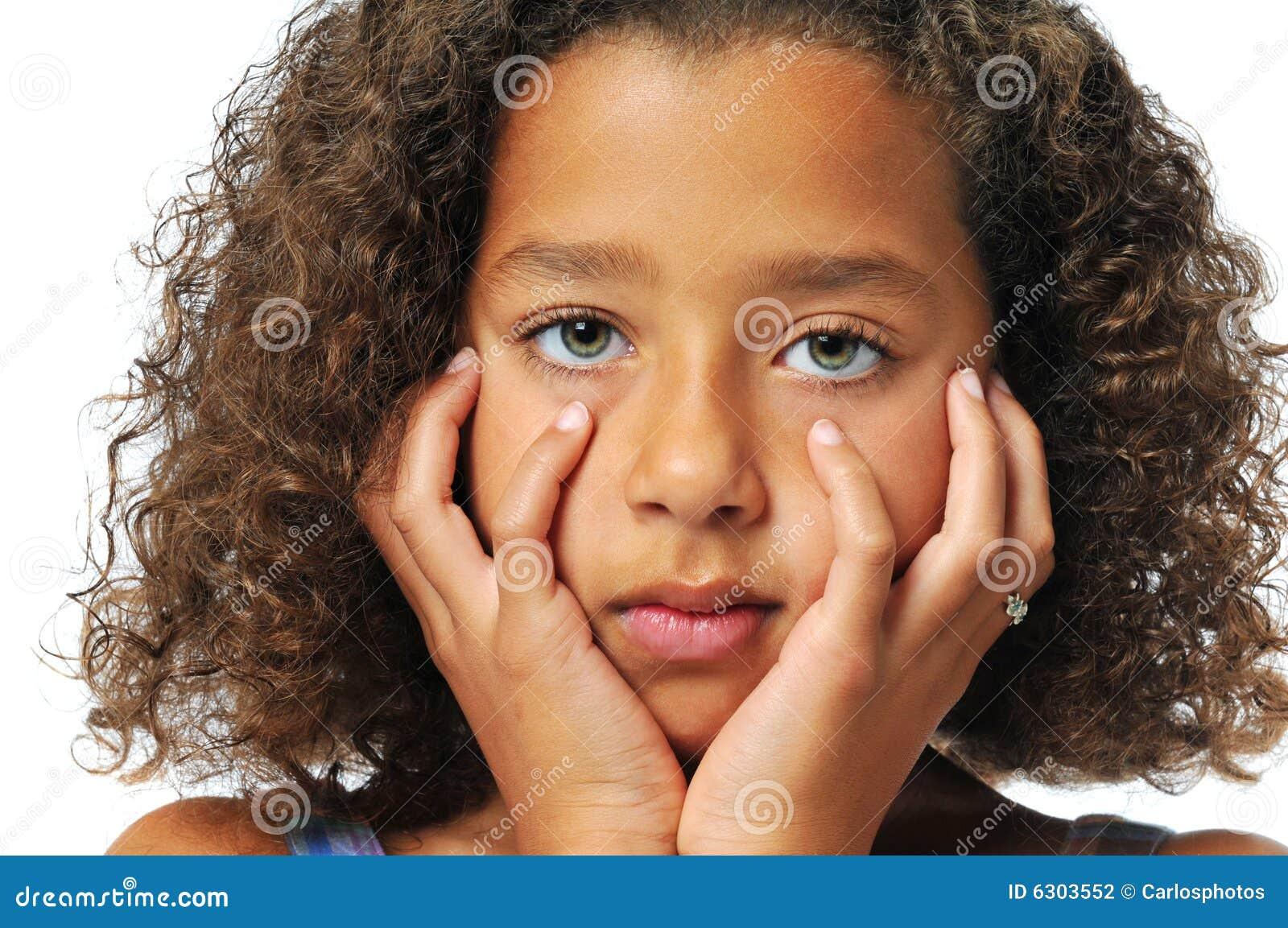 Portrait Of Beautiful Biracial Girl Stock Photo Image