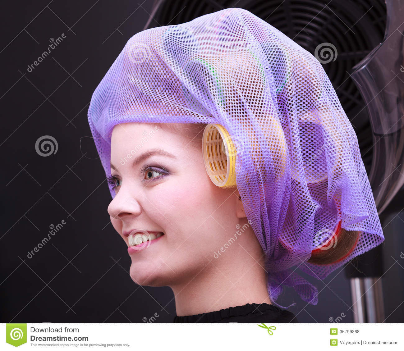 Portrait Beautiful Blond Girl Hair Curlers Rollers