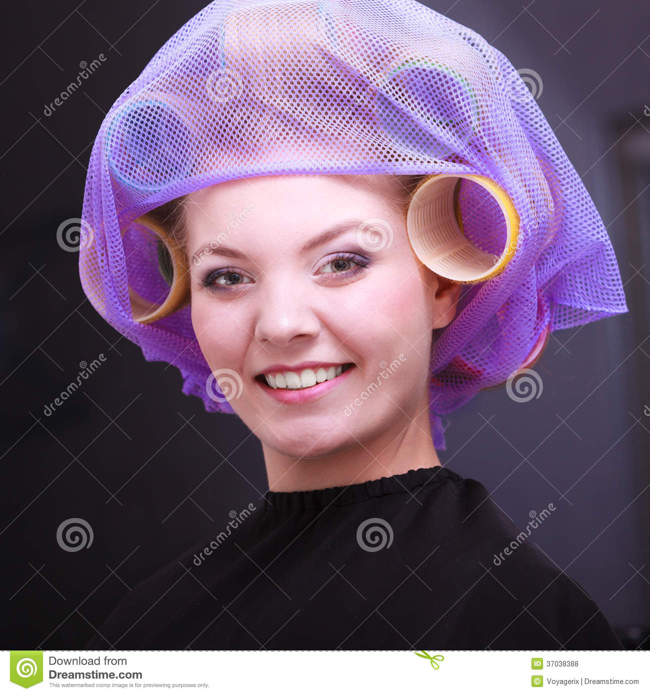 Pretty Girl Hair Salon: Portrait Beautiful Blond Girl Hair Curlers Rollers