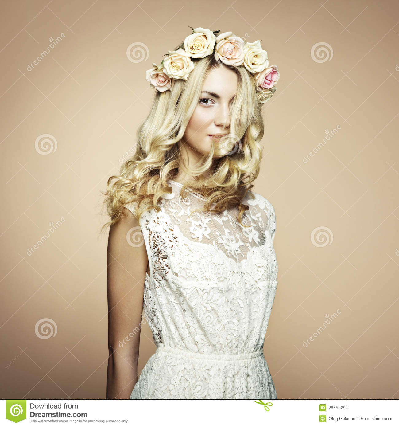 Portrait of a beautiful blonde woman with flowers in her hair stock royalty free stock photo izmirmasajfo Gallery